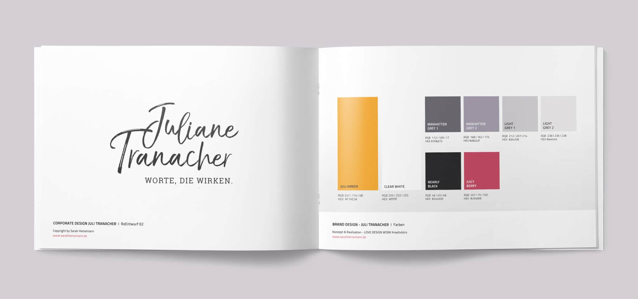 Corporate Design Styleguide von Logo-Design Beispiel Juliane Tranacher