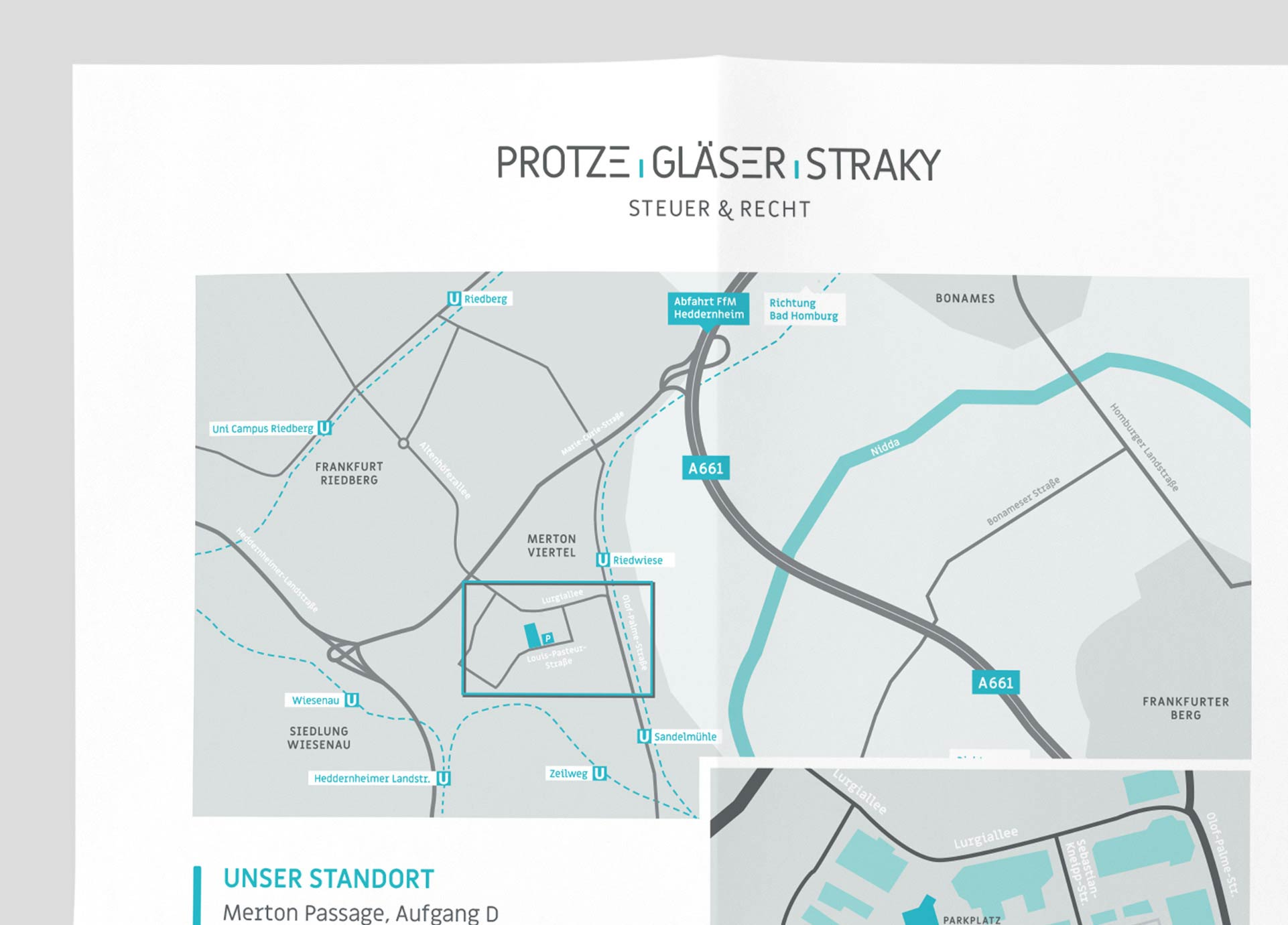 Kartenillustration der Steuerkanzlei PROTZE GLÄSER STRAKY aus Frankfurt am Main
