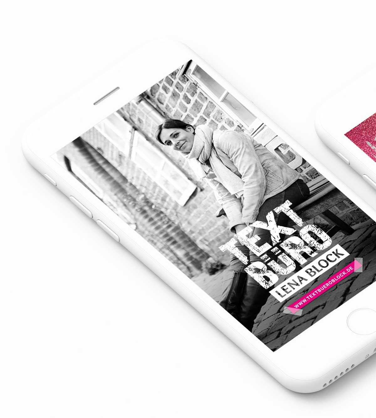 Smartphone Instagram Design Textbüro Lena Block mit Storydesign 2