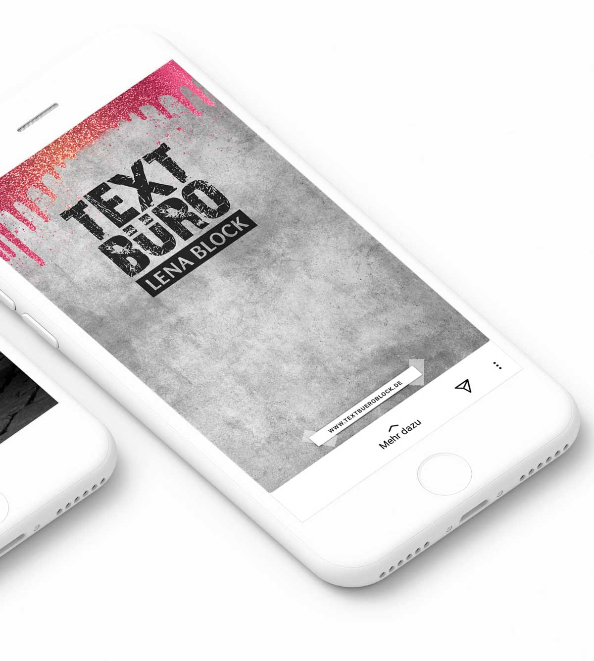 Smartphone Instagram Design Textbüro Lena Block mit Storydesign 1