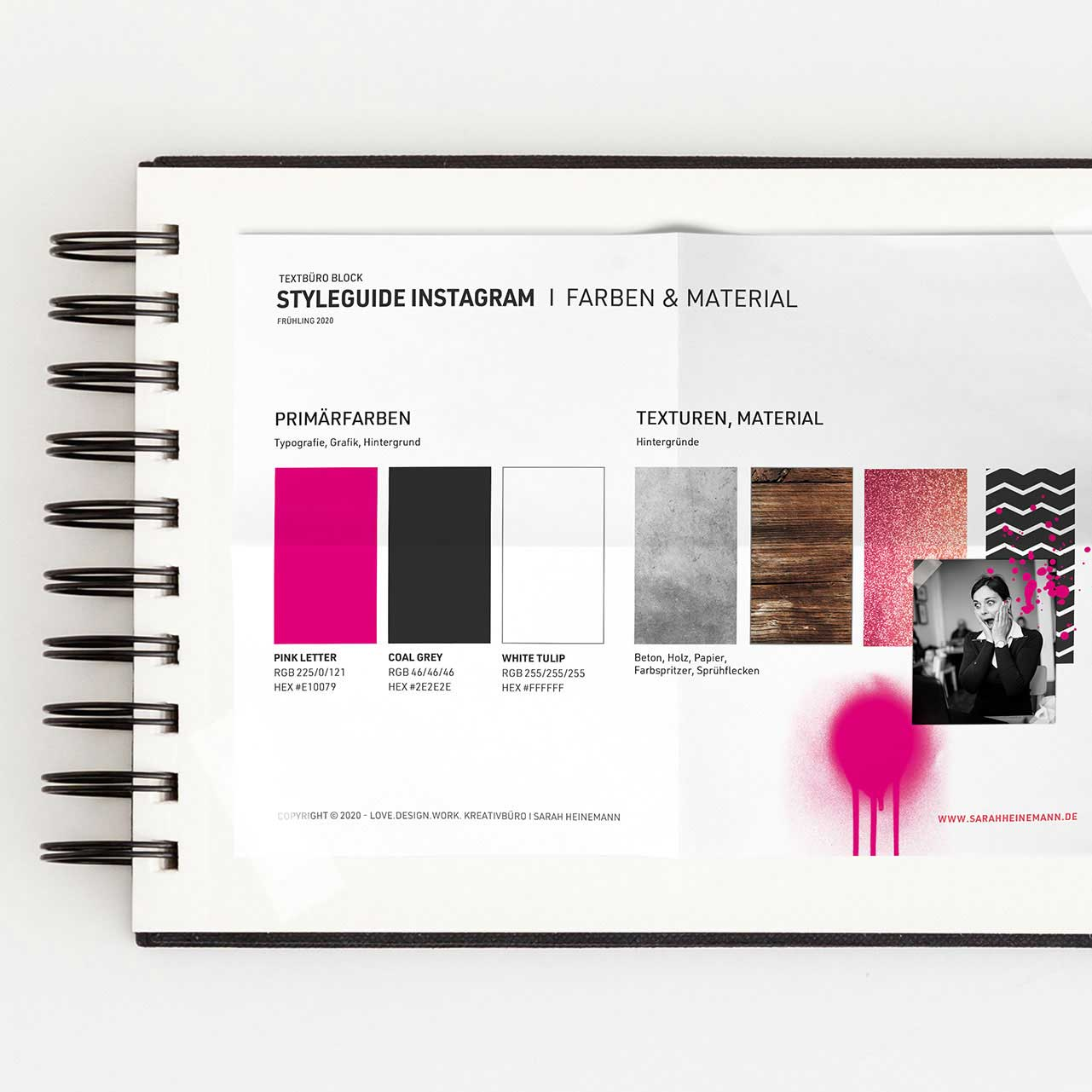 Styleguide von Instagram Design für das Textbüro von Texterin Lena Block