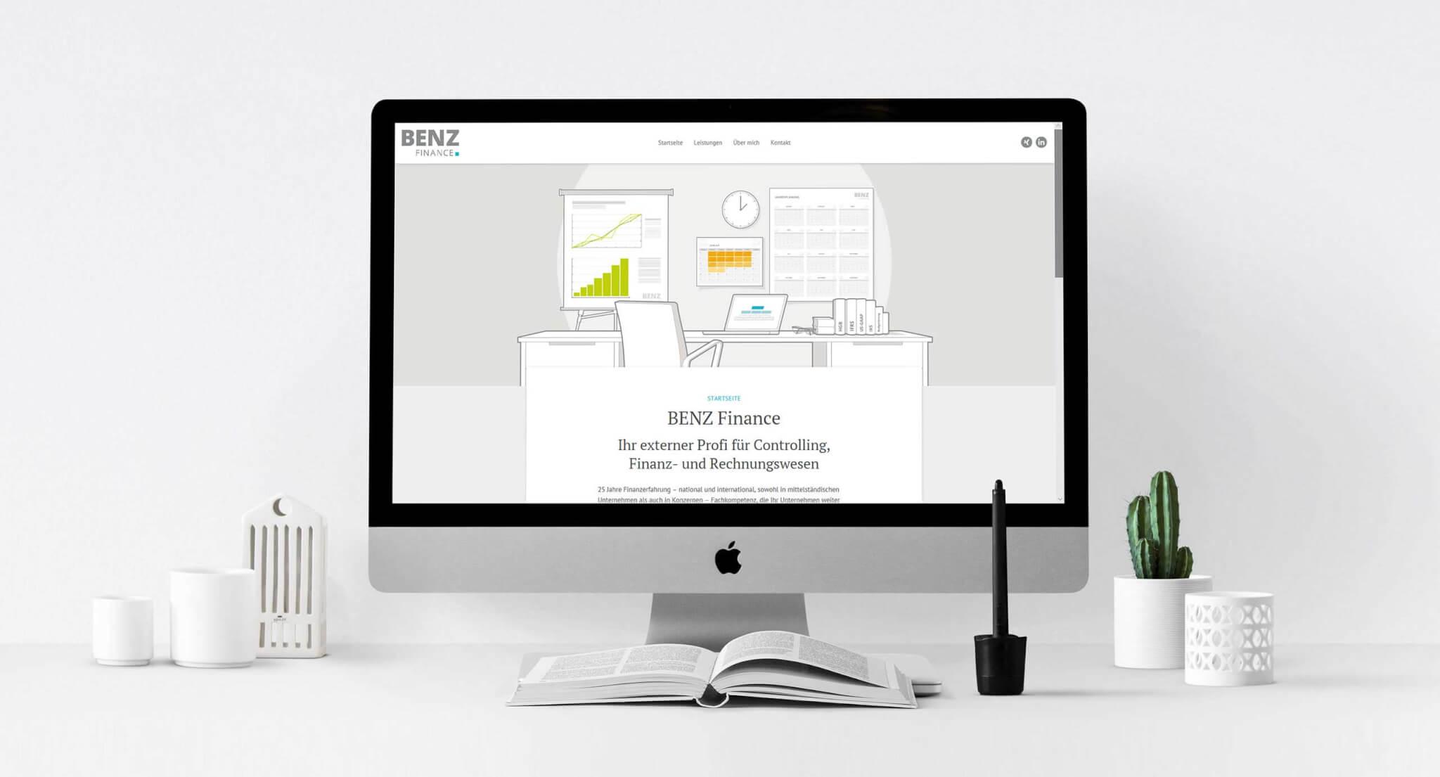 iMac mit Logo-Design-Frankfurt-Benz-Finance