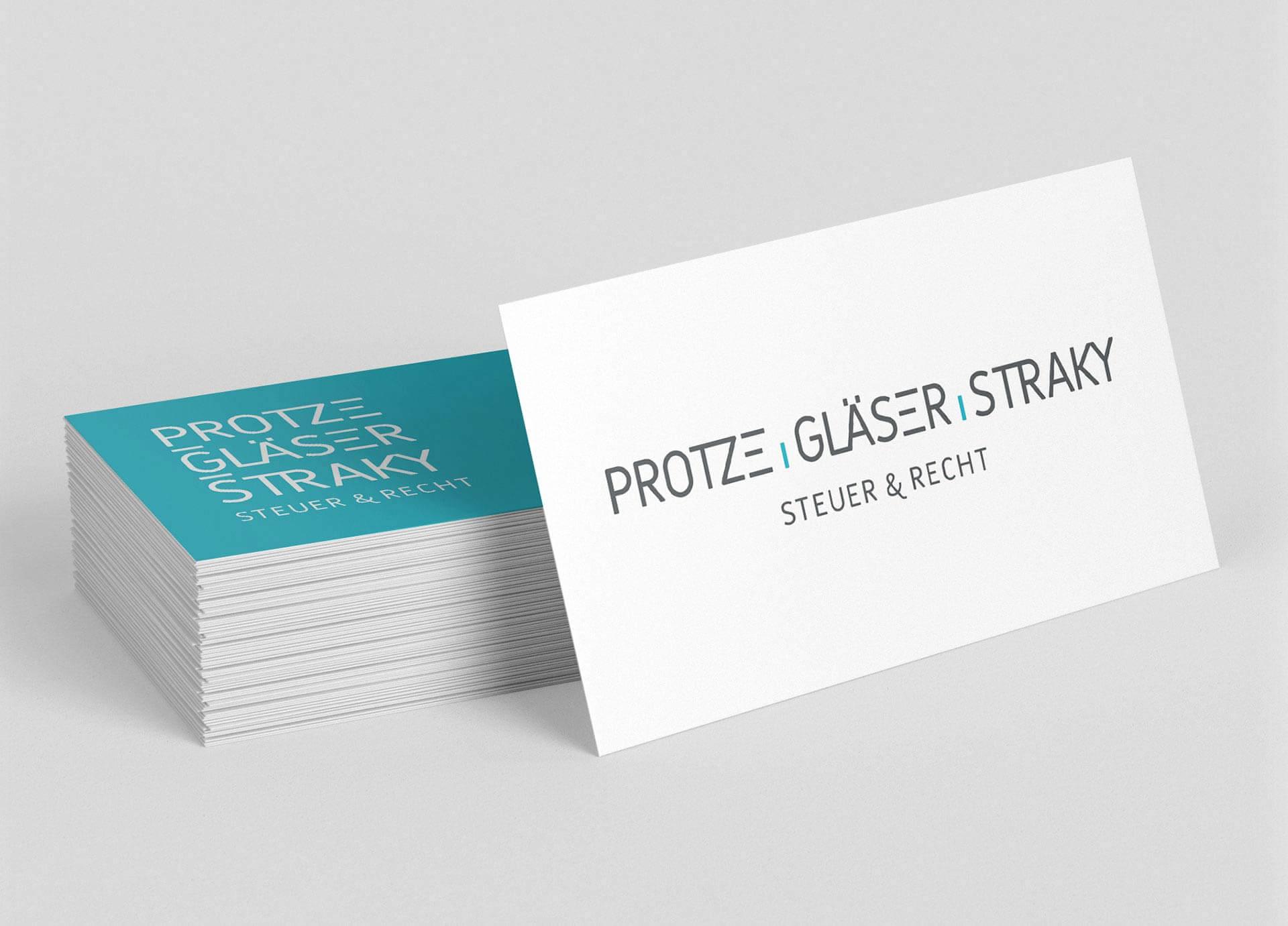 Visitenkarte und Logo-Design der Steuerkanzlei PROTZE GLÄSER STRAKY aus Frankfurt am Main