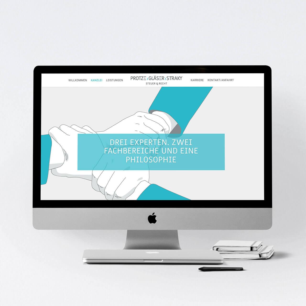Desktop Ansicht des Webdesign einer Steuerkanzlei aus Frankfurt am Main