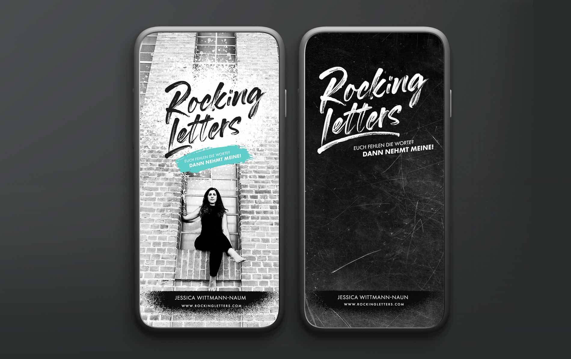 Zwei iPhones mit dem neuen Instagram Feed Design für Rocking Letters