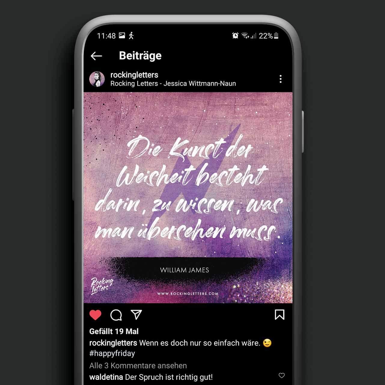 iPhones mit dem neuen Instagram Feed Design Beitrag für Rocking Letters